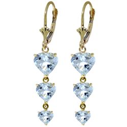 ALARRI 6 CTW 14K Solid Gold Heartthrob Aquamarine Earrings