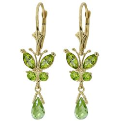 ALARRI 2.74 Carat 14K Solid Gold Butterfly Earrings Natural Peridot