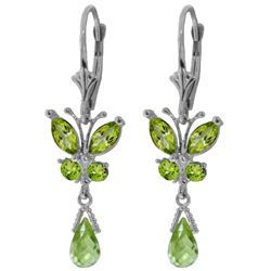 ALARRI 2.74 Carat 14K Solid White Gold Butterfly Earrings Natural Peridot
