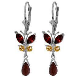 ALARRI 2.74 Carat 14K Solid White Gold Butterfly Earrings Natural Garnet Citrine