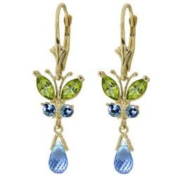 ALARRI 2.74 Carat 14K Solid Gold Butterfly Earrings Peridot & Blue Top