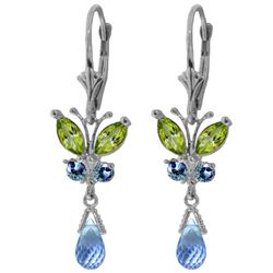 ALARRI 2.74 Carat 14K Solid White Gold Butterfly Earrings Peridot & Blue Topaz