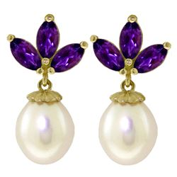 ALARRI 9.5 CTW 14K Solid Gold Dangling Earrings Pearl Amethyst