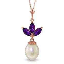 ALARRI 14K Solid Rose Gold Necklace w/ Pearl & Amethyst
