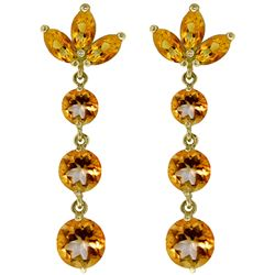 ALARRI 8.7 CTW 14K Solid Gold Dangling Earrings Natural Citrine