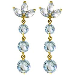 ALARRI 8.7 CTW 14K Solid Gold Dangling Earrings Natural Aquamarine