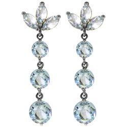 ALARRI 8.7 Carat 14K Solid White Gold Dangling Earrings Natural Aquamarine