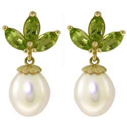 ALARRI 9.5 Carat 14K Solid Gold Dangling Earrings Pearl Peridot