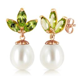 ALARRI 14K Solid Rose Gold Dangling Earrings w/ Pearls & Peridots