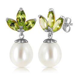 ALARRI 9.5 Carat 14K Solid White Gold Dangling Earrings Pearl Peridot