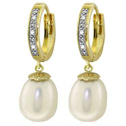 ALARRI 8.03 CTW 14K Solid Gold Huggie Earrings Diamond Pearl