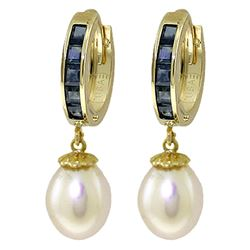 ALARRI 9.3 Carat 14K Solid Gold Hoop Earrings Sapphire Pearl