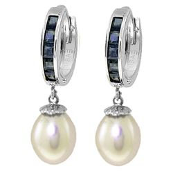 ALARRI 9.3 CTW 14K Solid White Gold Hoop Earrings Sapphire Pearl