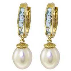 ALARRI 9.3 Carat 14K Solid Gold Hoop Earrings Aquamarine Pearl