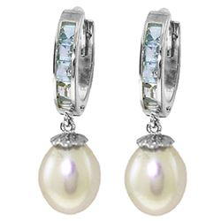 ALARRI 9.3 Carat 14K Solid White Gold Hoop Earrings Aquamarine Pearl