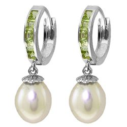 ALARRI 9.3 Carat 14K Solid White Gold Hoop Earrings Peridot Pearl