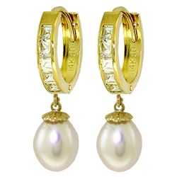 ALARRI 9.3 CTW 14K Solid Gold Hoop Earrings White Topaz Pearl