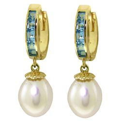 ALARRI 9.3 CTW 14K Solid Gold Hoop Earrings Blue Topaz Pearl