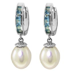 ALARRI 9.3 CTW 14K Solid White Gold Hoop Earrings Blue Topaz Pearl