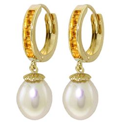 ALARRI 9.3 CTW 14K Solid Gold Hoop Earrings Citrine Pearl