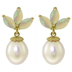 ALARRI 9.5 Carat 14K Solid Gold Dangling Earrings Pearl Opal
