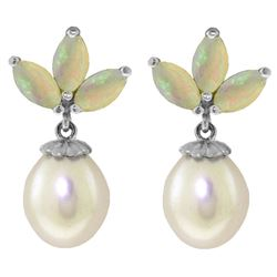 ALARRI 9.5 Carat 14K Solid White Gold Dangling Earrings Pearl Opal