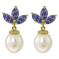 ALARRI 9.5 Carat 14K Solid Gold Dangling Earrings Pearl Tanzanite