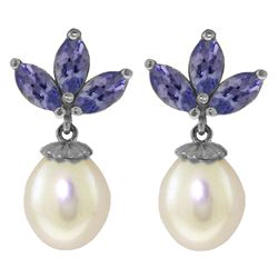 ALARRI 9.5 Carat 14K Solid White Gold Dangling Earrings Pearl Tanzanite