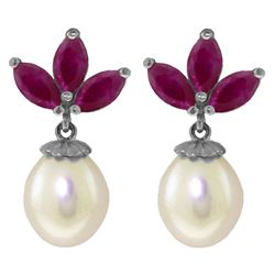 ALARRI 9.5 Carat 14K Solid White Gold Dangling Earrings Pearl Ruby