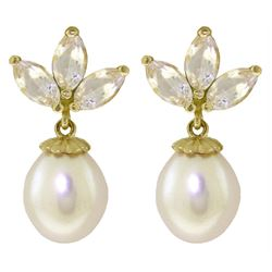 ALARRI 9.5 Carat 14K Solid Gold Dangling Earrings Pearl White Topaz