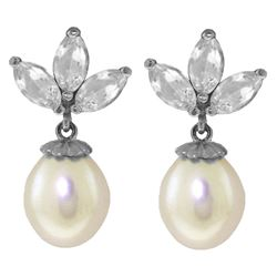 ALARRI 9.5 CTW 14K Solid White Gold Dangling Earrings Pearl White Topaz