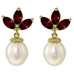 ALARRI 9.5 Carat 14K Solid Gold Dangling Earrings Pearl Garnet