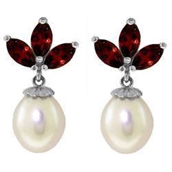 ALARRI 9.5 Carat 14K Solid White Gold Dangling Earrings Pearl Garnet