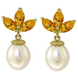 ALARRI 9.5 Carat 14K Solid Gold Dangling Earrings Pearl Citrine
