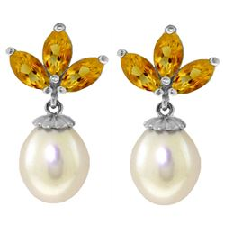 ALARRI 9.5 CTW 14K Solid White Gold Dangling Earrings Pearl Citrine