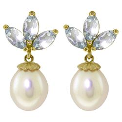 ALARRI 9.5 CTW 14K Solid Gold Dangling Earrings Pearl Aquamarine