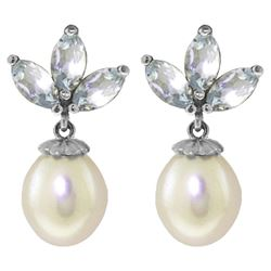 ALARRI 9.5 Carat 14K Solid White Gold Dangling Earrings Pearl Aquamarine