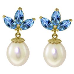 ALARRI 9.5 Carat 14K Solid Gold Dangling Earrings Pearl Blue Topaz