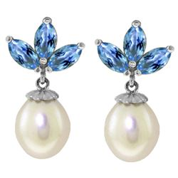 ALARRI 9.5 CTW 14K Solid White Gold Dangling Earrings Pearl Blue Topaz