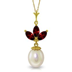 ALARRI 4.75 Carat 14K Solid Gold Necklace Pearl Garnet