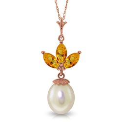ALARRI 14K Solid Rose Gold Necklace w/ Pearl & Citrines