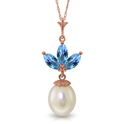 ALARRI 14K Solid Rose Gold Necklace w/ Pearl & Blue Topaz