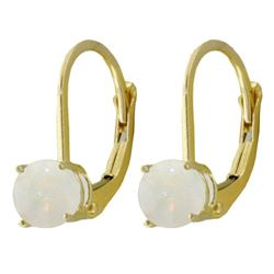 ALARRI 0.7 Carat 14K Solid Gold Optic White Opal Earrings