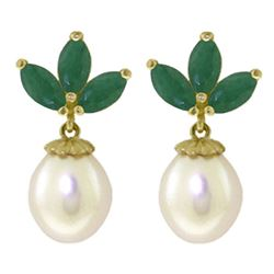 ALARRI 9.5 CTW 14K Solid Gold Dangling Earrings Pearl Emerald