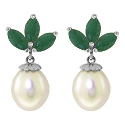 ALARRI 9.5 Carat 14K Solid White Gold Dangling Earrings Pearl Emerald