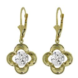 ALARRI 1 Carat 14K Solid Gold Leverback Earrings Natural 1.0 Carat Diamond