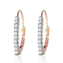 ALARRI 14K Solid Rose Gold Leverback Earrings w/ Natural Diamonds