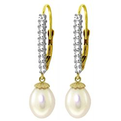 ALARRI 8.3 Carat 14K Solid Gold Leverback Earrings Natural Diamond Pearl