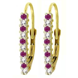 ALARRI 0.35 CTW 14K Solid Gold Leverback Earrings Natural Diamond Ruby