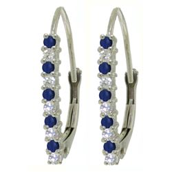 ALARRI 0.35 CTW 14K Solid White Gold Leverback Earrings Natural Diamond Sapphire
